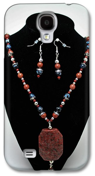 Design Jewelry Galaxy S4 Cases - 3578 Jasper and Agate Long Necklace and Earrings Set Galaxy S4 Case by Teresa Mucha