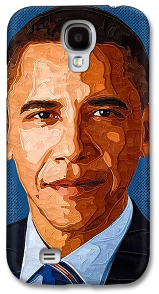 Barack Obama Galaxy S4 Cases - Barack Obama Portrait Galaxy S4 Case by Victor Gladkiy