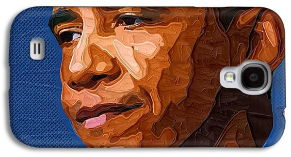 Barack Obama Galaxy S4 Cases - Barack Obama Portrait Galaxy S4 Case by Victor Gladkiy