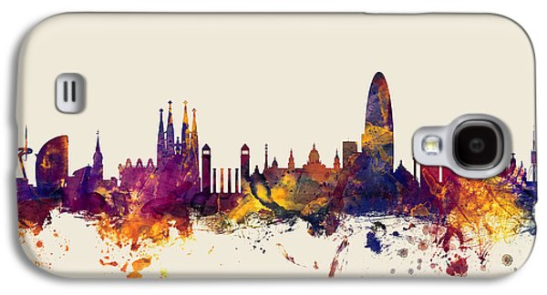 Barcelona Spain Skyline Galaxy S4 Case by Michael Tompsett