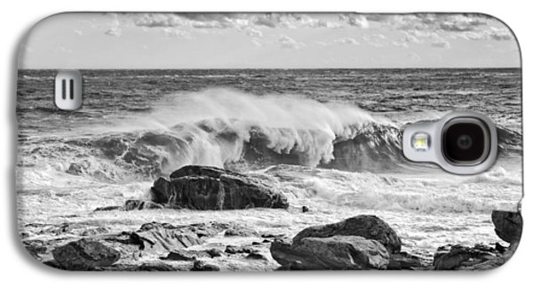 Crest Digital Art Galaxy S4 Cases - Black and White Large Waves Near Pemaquid Point On The Coast Of  Galaxy S4 Case by Keith Webber Jr