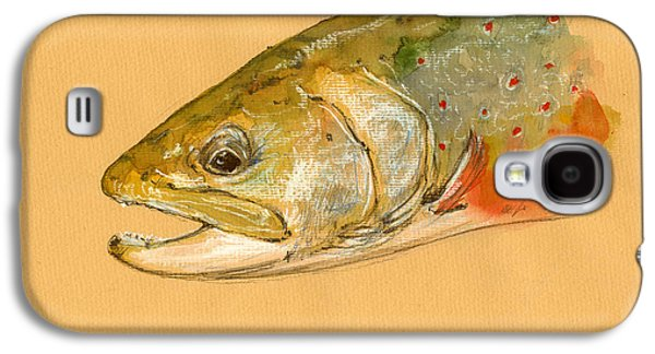 Trout Paintings Galaxy S4 Cases - Trout watercolor painting Galaxy S4 Case by Juan  Bosco