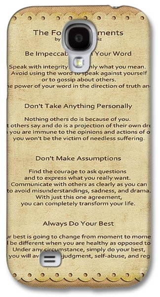 Spirituality Galaxy S4 Cases - 41- The Four Agreements Galaxy S4 Case by Joseph Keane
