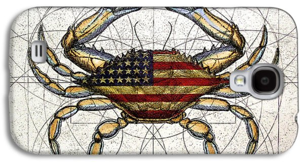 American Flag Mixed Media Galaxy S4 Cases - 4th of July Crab Galaxy S4 Case by Charles Harden