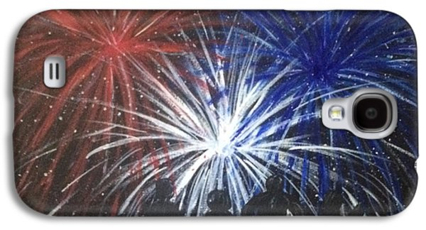 4th July Paintings Galaxy S4 Cases - 4th of July Fireworks Galaxy S4 Case by Sherri Howard