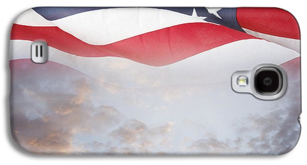 Landmarks Photographs Galaxy S4 Cases - Flag and sky Galaxy S4 Case by Les Cunliffe