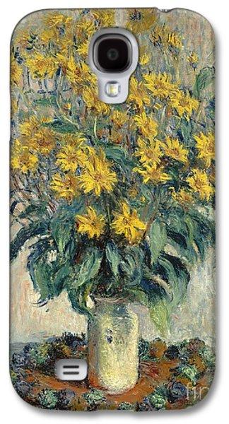 Jerusalem Paintings Galaxy S4 Cases - Jerusalem Artichoke Flowers Galaxy S4 Case by Claude Monet