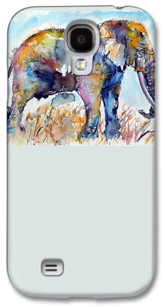 Purple Paintings Galaxy S4 Cases - Colorful elephant Galaxy S4 Case by Kovacs Anna Brigitta