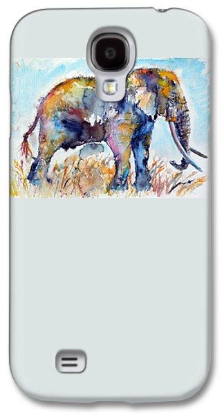Galaxy S4 Cases - Colorful elephant Galaxy S4 Case by Kovacs Anna Brigitta