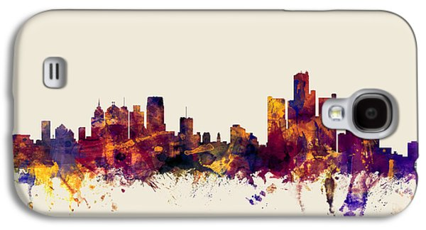 Detroit Digital Galaxy S4 Cases - Detroit Michigan Skyline Galaxy S4 Case by Michael Tompsett