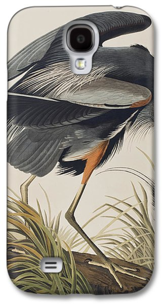 Great Birds Galaxy S4 Cases - Great Blue Heron Galaxy S4 Case by John James Audubon