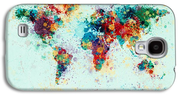 Map Galaxy S4 Cases - World Map Paint Splashes Galaxy S4 Case by Michael Tompsett