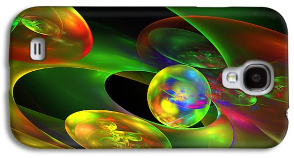 Multicolored Digital Art Galaxy S4 Cases - Computer Generated Planet Sphere Abstract Fractal Flame Modern Art Galaxy S4 Case by Keith Webber Jr