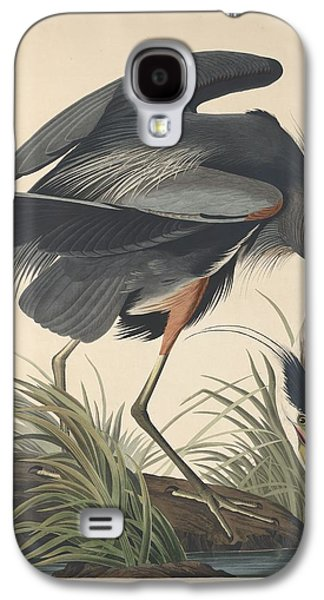 Feather Drawings Galaxy S4 Cases - Great Blue Heron Galaxy S4 Case by John James Audubon