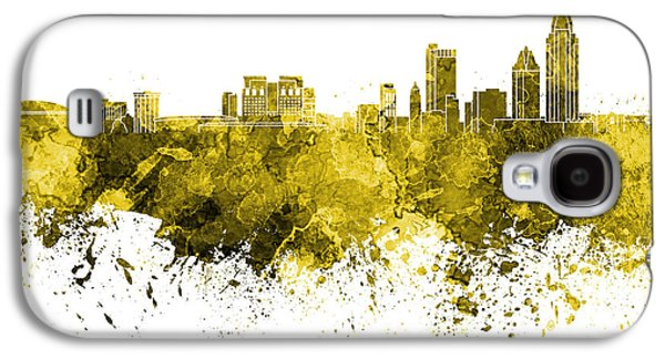 Art Mobile Galaxy S4 Cases - Mobile skyline in watercolor background Galaxy S4 Case by Pablo Romero