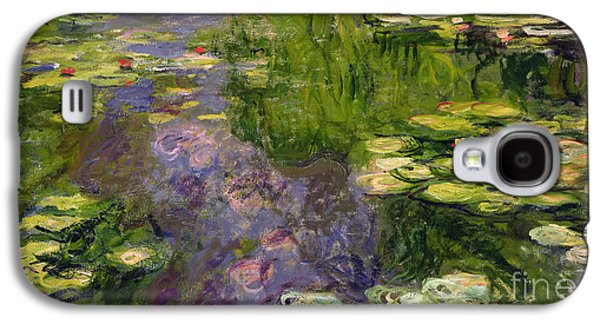Purple Paintings Galaxy S4 Cases - Waterlilies Galaxy S4 Case by Claude Monet