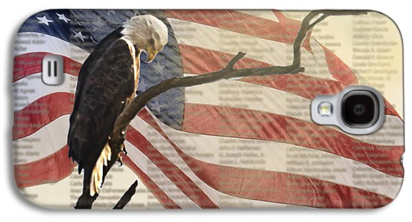 Americans Pyrography Galaxy S4 Cases - 9/11 Eagle Bow Galaxy S4 Case by Shirley Tinkham