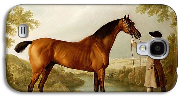 A Bay Racehorse Held By A Groom In An Extensive Landscape Galaxy S4 Case by George Stubbs