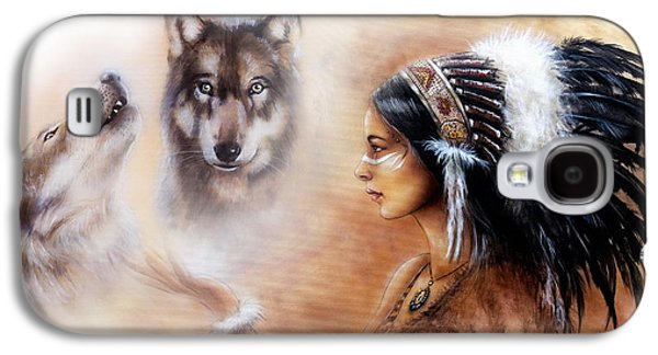 Native American Spirit Portrait Paintings Galaxy S4 Cases - A beautiful airbrush painting of a young indian woman wearing  Galaxy S4 Case by Jozef Klopacka