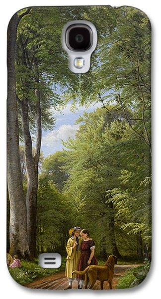 Green Foliage Galaxy S4 Cases - A Beech Wood in May near Iselingen Manor Galaxy S4 Case by Peter Christian Skovgaard