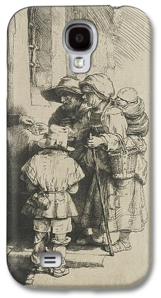Receive Paintings Galaxy S4 Cases - A blind hurdy-gurdy player with family these receives alms Galaxy S4 Case by Celestial Images