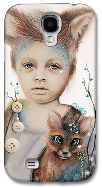 Innocence Mixed Media Galaxy S4 Cases - A Boy and His Fox   Galaxy S4 Case by Sheena Pike