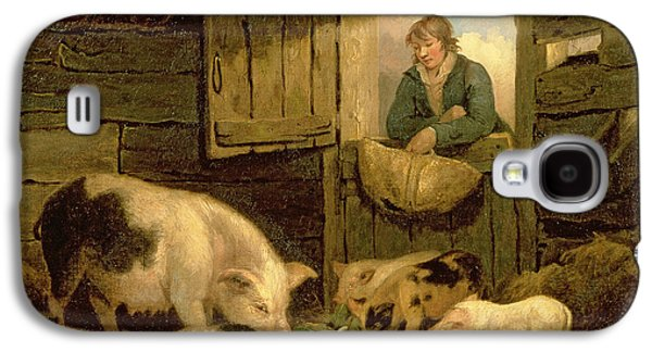 A Boy Looking Into A Pig Sty Galaxy S4 Case by George Morland