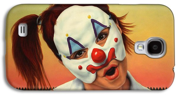 Fence Paintings Galaxy S4 Cases - A clown in my backyard Galaxy S4 Case by James W Johnson