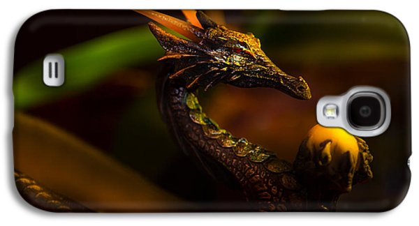 Original Art Photographs Galaxy S4 Cases - A colorful ancient dragon statue holding a glowing ball of light Galaxy S4 Case by Jozef Klopacka