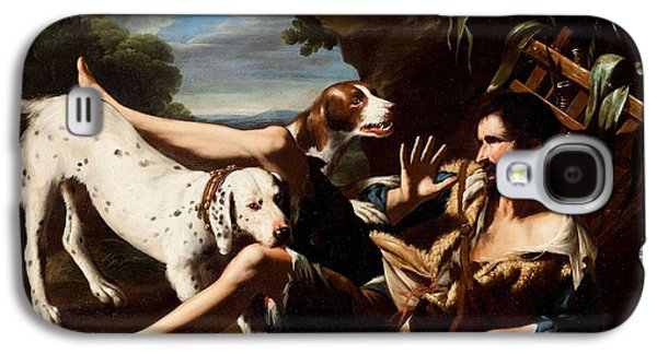 A Flask-bearer Surprised By Two Dogs In A Landscape Galaxy S4 Case by MotionAge Designs