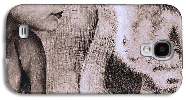 Sepia Chalk Galaxy S4 Cases - A Girl and her Cat Galaxy S4 Case by Sonya Delaney