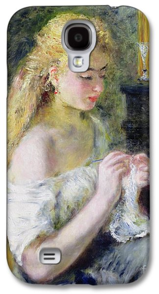 Gold Earrings Galaxy S4 Cases - A Girl Crocheting Galaxy S4 Case by Pierre Auguste Renoir
