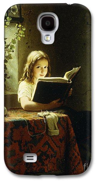 A Girl Reading Galaxy S4 Case by Johann Georg Meyer