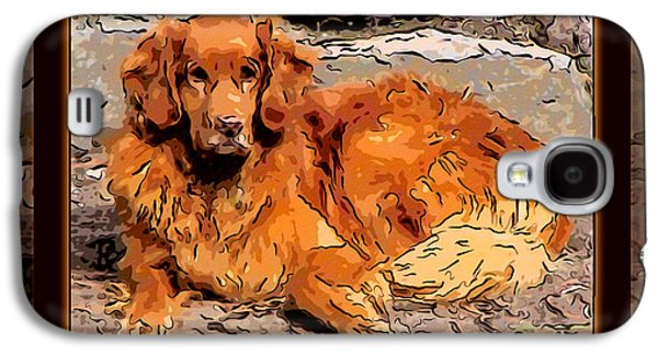 Recently Sold -  - Puppy Digital Galaxy S4 Cases - A Golden Retriever Resting Abstract Dog Art Galaxy S4 Case by Omaste Witkowski