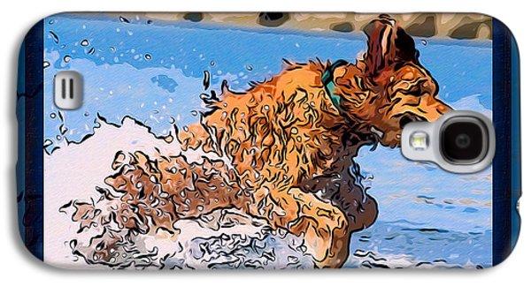Puppy Digital Art Galaxy S4 Cases - A Golden Retriever Splashing Abstract Dog Art Galaxy S4 Case by Omaste Witkowski