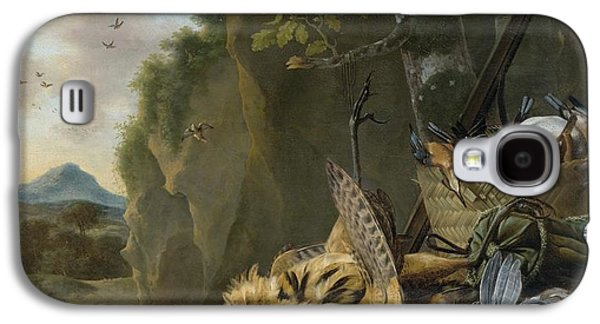 A Hunting Still Life With A Bittern And A Dog In A Landscape Galaxy S4 Case by Jan Weenix