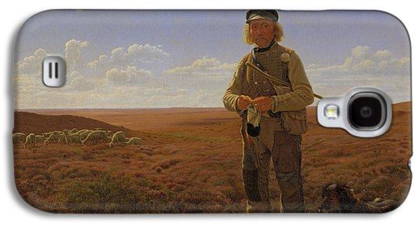 Field. Cloud Paintings Galaxy S4 Cases - A Jutland Shepherd on the Moors Galaxy S4 Case by Frederik Vermehren