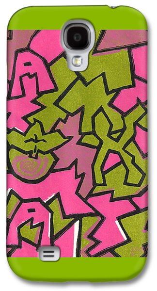 Lino Paintings Galaxy S4 Cases - A K A Abstract Galaxy S4 Case by BFly Designs