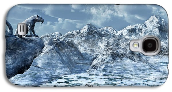 Snow-covered Landscape Digital Art Galaxy S4 Cases - A Lone Sabre Toothed Tiger Perched Galaxy S4 Case by Mark Stevenson