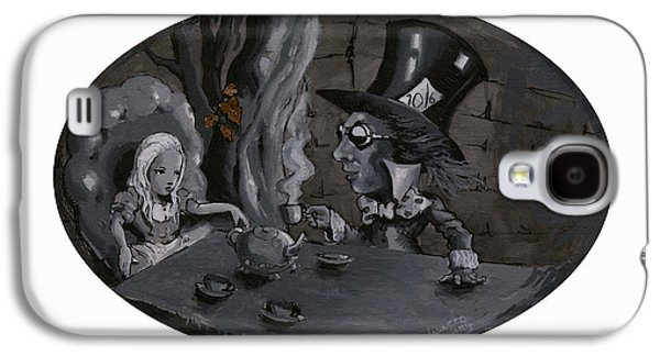 Mad Hatter Paintings Galaxy S4 Cases - A Mad Tea party Galaxy S4 Case by Luis  Navarro