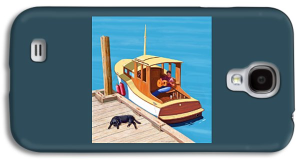 Dogs Digital Art Galaxy S4 Cases - A man a dog and an old boat Galaxy S4 Case by Gary Giacomelli