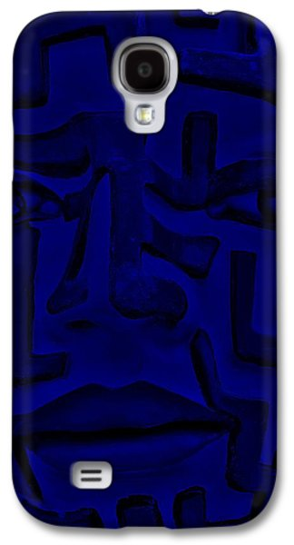 Modern Abstract Sculptures Galaxy S4 Cases - A Mazing Blue Face Galaxy S4 Case by Rob Hans