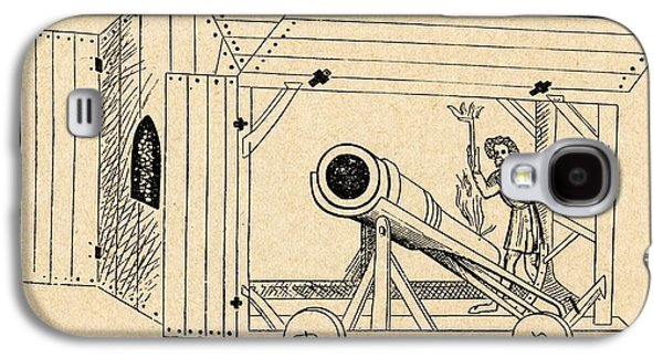 Shed Drawings Galaxy S4 Cases - A Medieval Mobile Cannon Being Fired Galaxy S4 Case by Ken Welsh