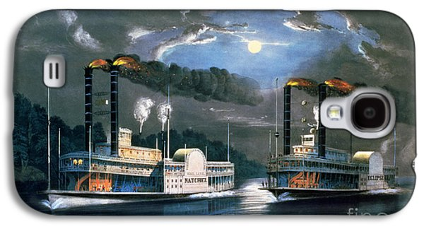 A Midnight Race On The Mississippi Galaxy S4 Case by Currier and Ives