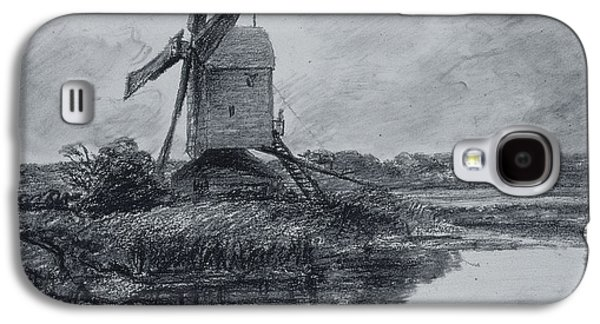 White Pastels Galaxy S4 Cases - A Mill On The Banks Of The River Stour Charcoal On Paper Galaxy S4 Case by John Constable