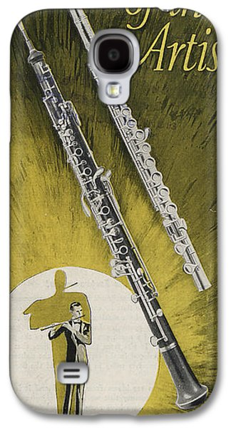 Green Drawings Galaxy S4 Cases - A Musician Playing a Charles Gerard Conn Flute Galaxy S4 Case by American School