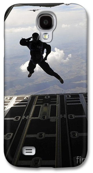 Exercise Photographs Galaxy S4 Cases - A Paratrooper Salutes As He Jumps Galaxy S4 Case by Stocktrek Images