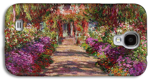 Purple Paintings Galaxy S4 Cases - A Pathway in Monets Garden Giverny Galaxy S4 Case by Claude Monet
