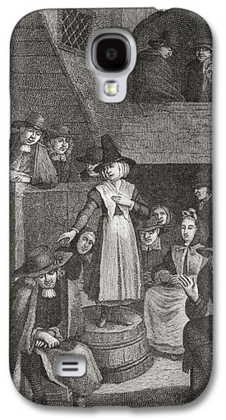 Quaker Drawings Galaxy S4 Cases - A Quaker S Meeting In The Seventeenth Galaxy S4 Case by Ken Welsh
