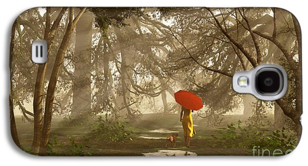 Dog Walking Digital Galaxy S4 Cases - A Quiet Walk After a Rainy Day Galaxy S4 Case by Diana  Voyajolu
